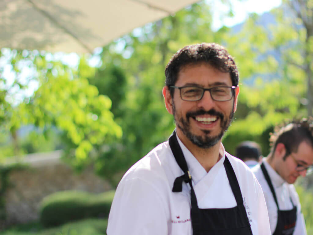 A portrait of Pep Forteza, chef of the Olivera Restaurant in Castell Son Claret in Mallorca